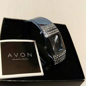 Vtg Avon Neon Blue Cuff Watch